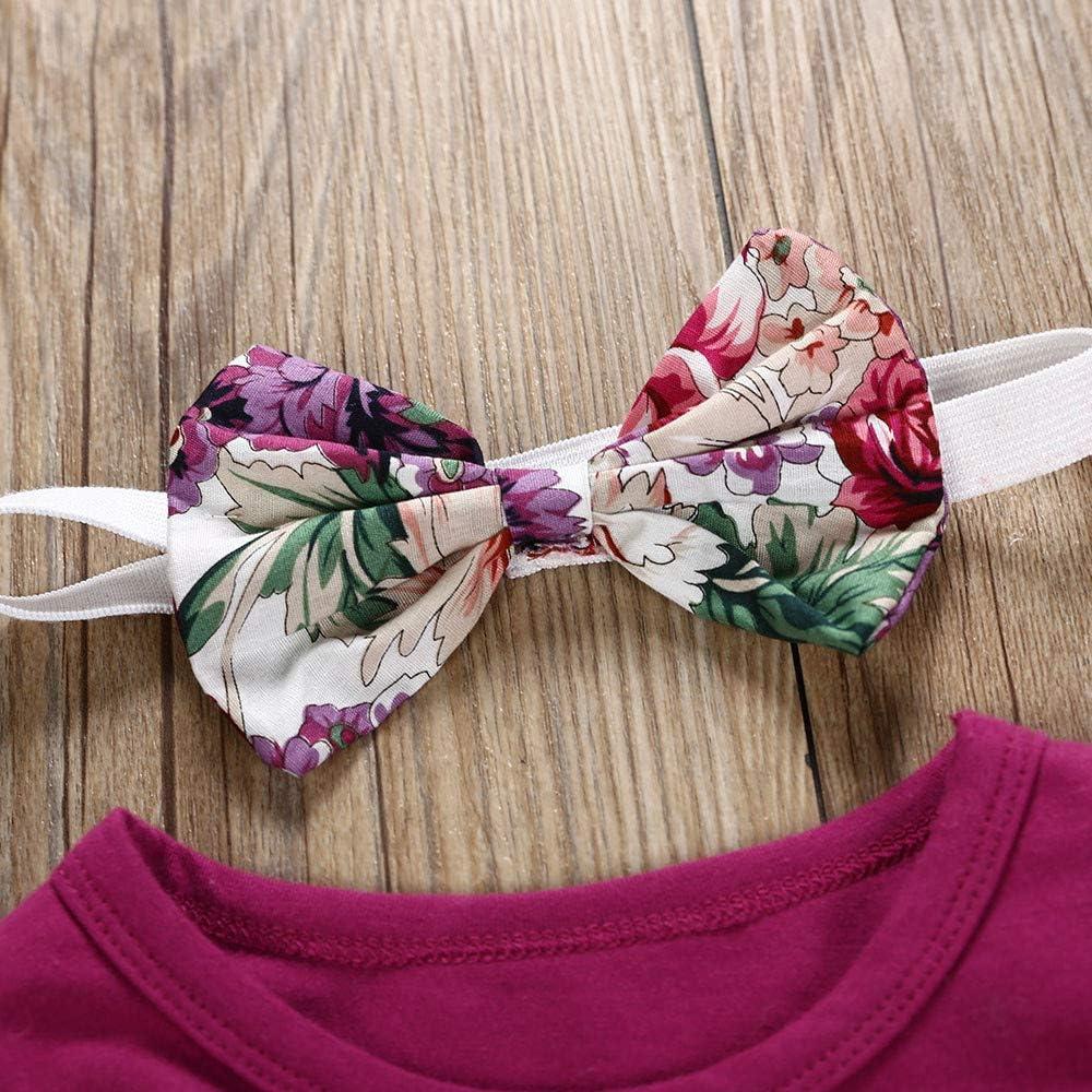 KONFA Toddler Newborn Baby Girls Fall Winter 3Pcs Outfits Clothes,Ruffles Romper+Floral Pants+Bowknot Headband Set