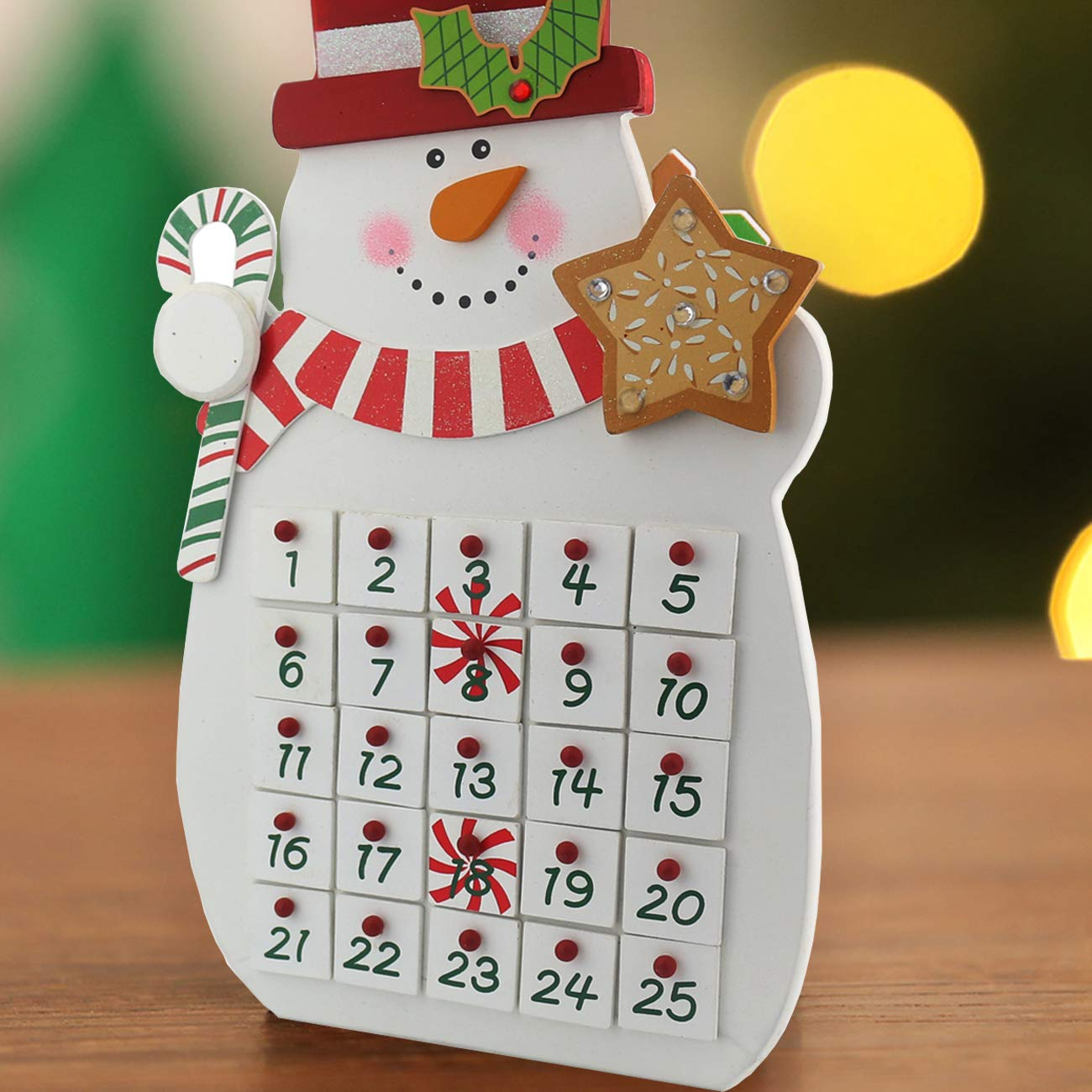 Sunnyglade 2018| 25 Day Countdown Calendar | Premium Christmas Painted Snowman Xmas Gifts Keepsake | Unique Holiday Decoration |100% Wood Construction, White Red Snowman Advent Calendar