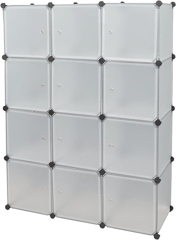 ts-ideen 5121 Armario Modular con 12 Compartimentos Conjuntos de Puertas, Polipropileno, White: Amazon.es: Hogar