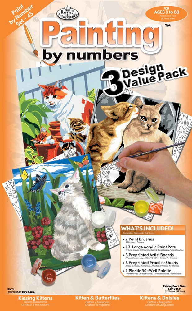 Cats Set Royal /& Langnickel Painting by Numbers Junior Small 3-Piece Art Activity Kit