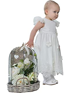 6b6930cd4 ShineGown Christening Dress for Baby Girls with Headband Tulle Satin with  Handmade Flowers Formal Birthday Party