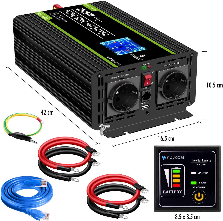5 Meter Fernsteuerung mit LCD Bildschirm novopal/® Spannungswandler12V auf 230V 3000W//6000W Reiner Sinus Wechselrichter Inverter Konverter mit 2 EU Steckdose und 2.4A USB-Port inkl