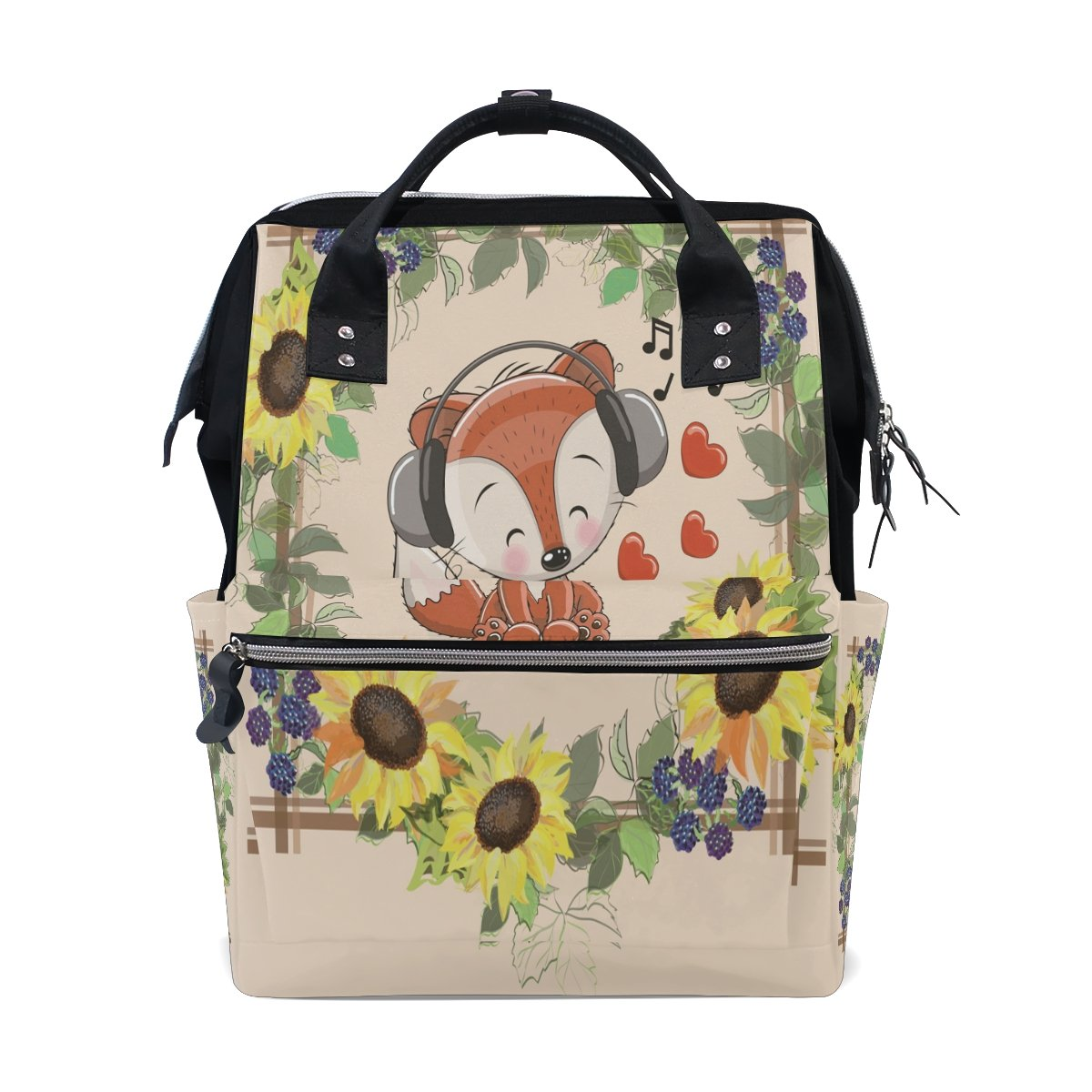 Cute Music Fox Travel Backpack Casual Laptop Backpack Large Capacity Shoulder Diaper Bag for Womens Mens