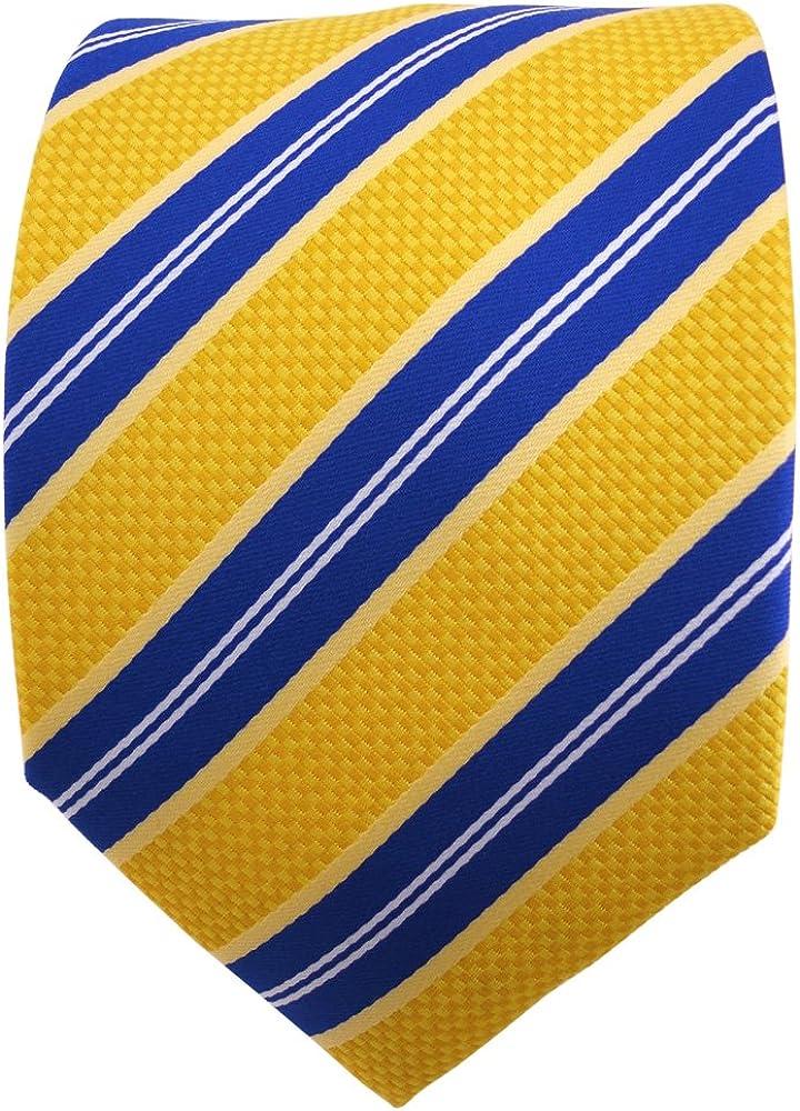TigerTie Cravatta giallo arancio blu bianco striato