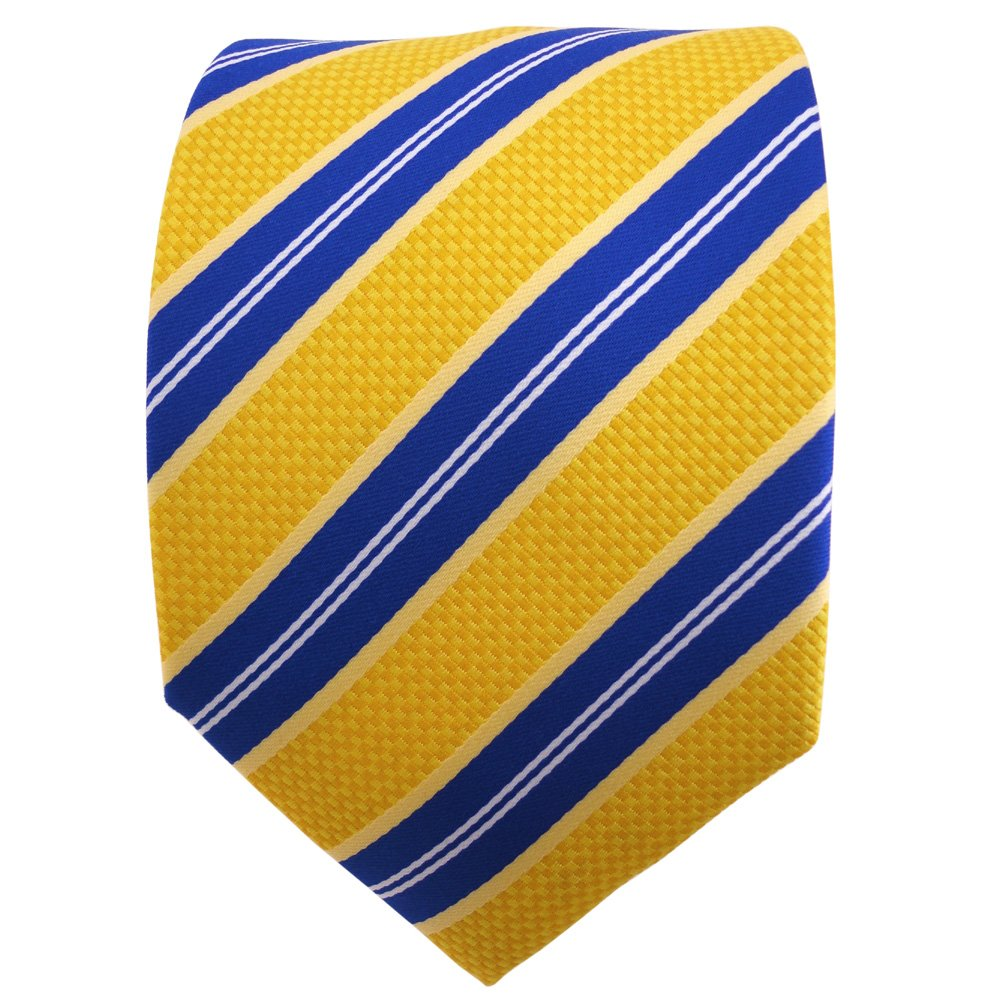 TigerTie Designer Krawatte gelborange blau wei/ß gestreift Binder Tie