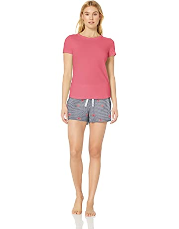 96ad6571c4 Amazon Essentials Women's Poplin Short and Sleep Tee Set