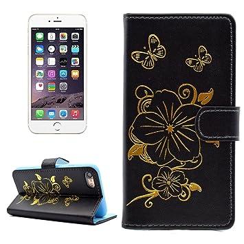 SCSY-phone case For iPhone 7 Bronzing patrón de mariposa horizontal Flip PU funda de cuero con titular y ranuras para tarjetas y cartera (Color : Black) : ...