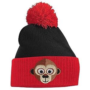 Women's Pom Pom - Monkey Face - Red and Black