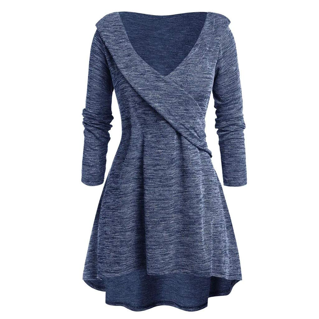 Womens Plus Size Long Sleeve Tops V-Neck Tunic Top High Low Plunging Neck Criss-Cross Bandage Sweater Blouse L-5XL (5X-Large, Blue) by Aritone