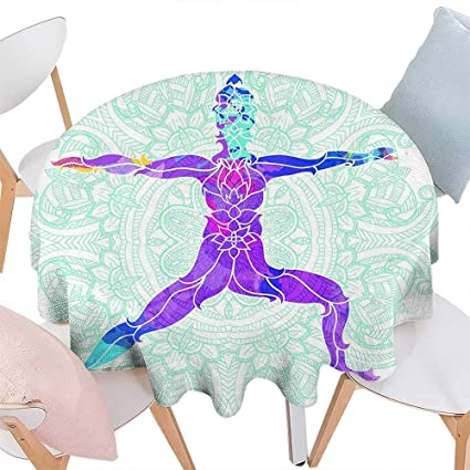 Amazon.com: Cheery-Home Round tableclothChakra Decor Girl on ...