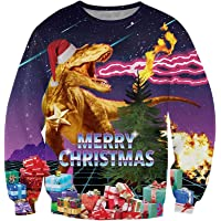 ALISISTER Unisex Ugly Christmas Jumper 3D Impreso Navidad Jersey Sudadera Divertida Suéter de Manga Larga Camiseta S-3XL