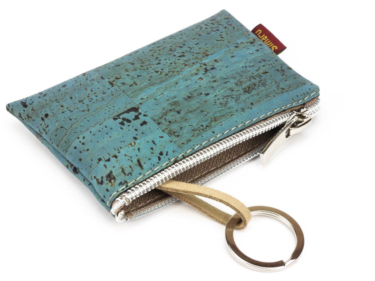 Varios colores Monedero peque/ño con llavero para el bolsillo o el bolso bolsillo extra para tarjetas y anilla para llaves Beige Raizes Vegano! Portamonedas con cremallera by SIMARU
