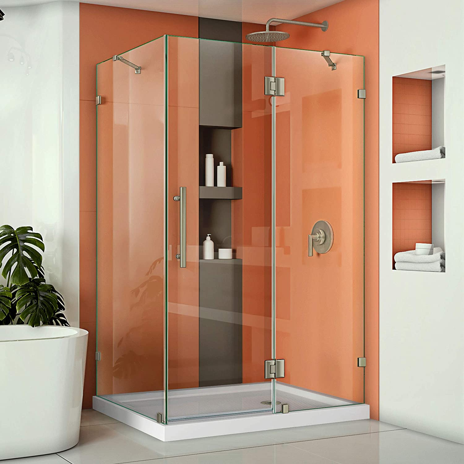 DreamLine Quatra Lux 34 1/4 in. D x 46 3/8 in. W x 72 in. H Frameless Hinged Shower Enclosure in Brushed Nickel, SHEN-1334460-04