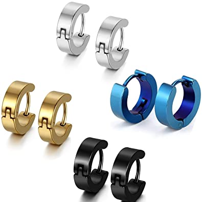 6d60fd2536477 Stainless Steel Huggies Earrings, Hoop Ear Stud for Men and Women 4 Pairs  Set Black Silver Gold