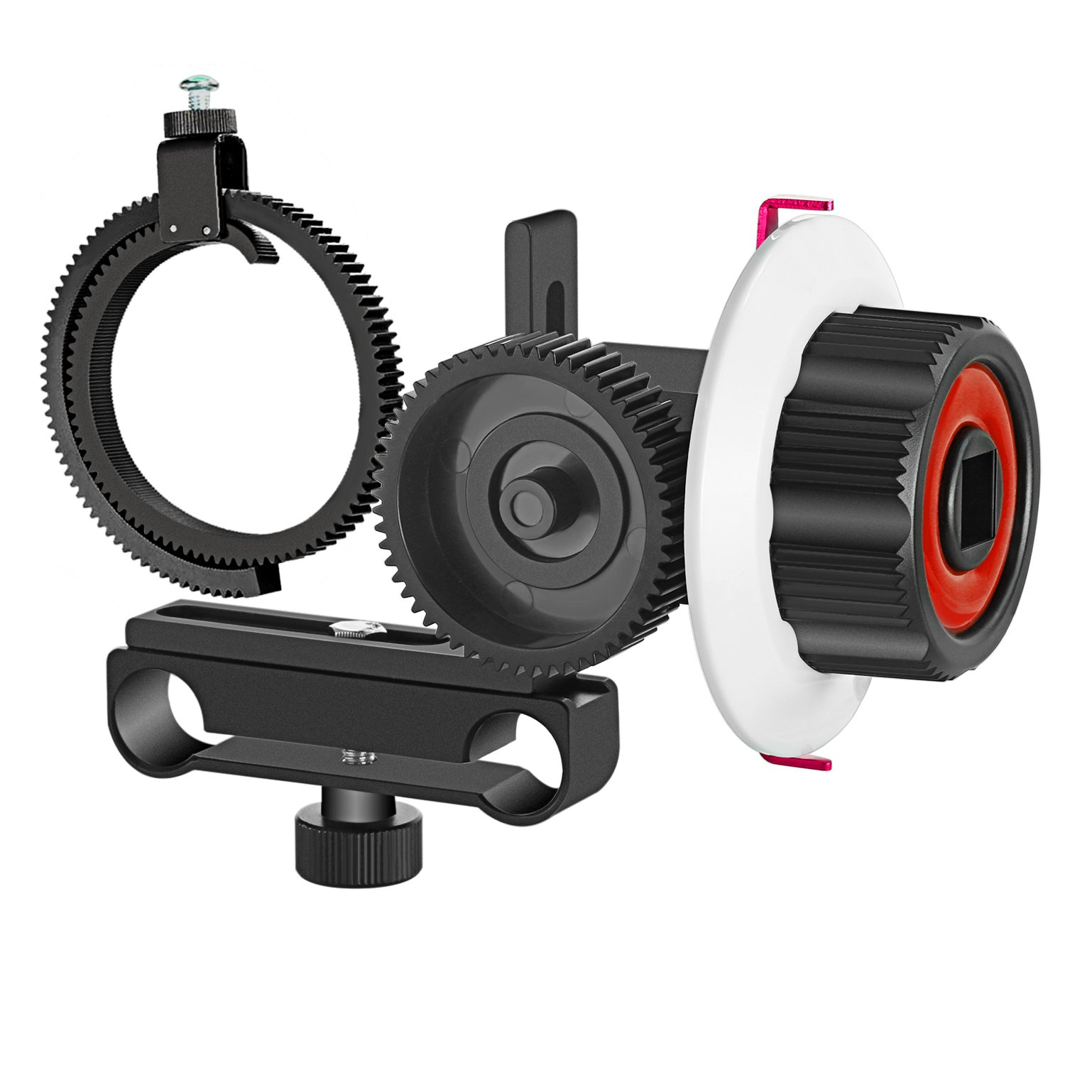 Neewer Follow Focus with Gear Ring Belt for Canon Nikon Sony and Other DSLR Camera Camcorder DV Video Fits 15mm Rod Film Making System, Shoulder Support, Stabilizer, Movie Rig(Red+Black) 10090365