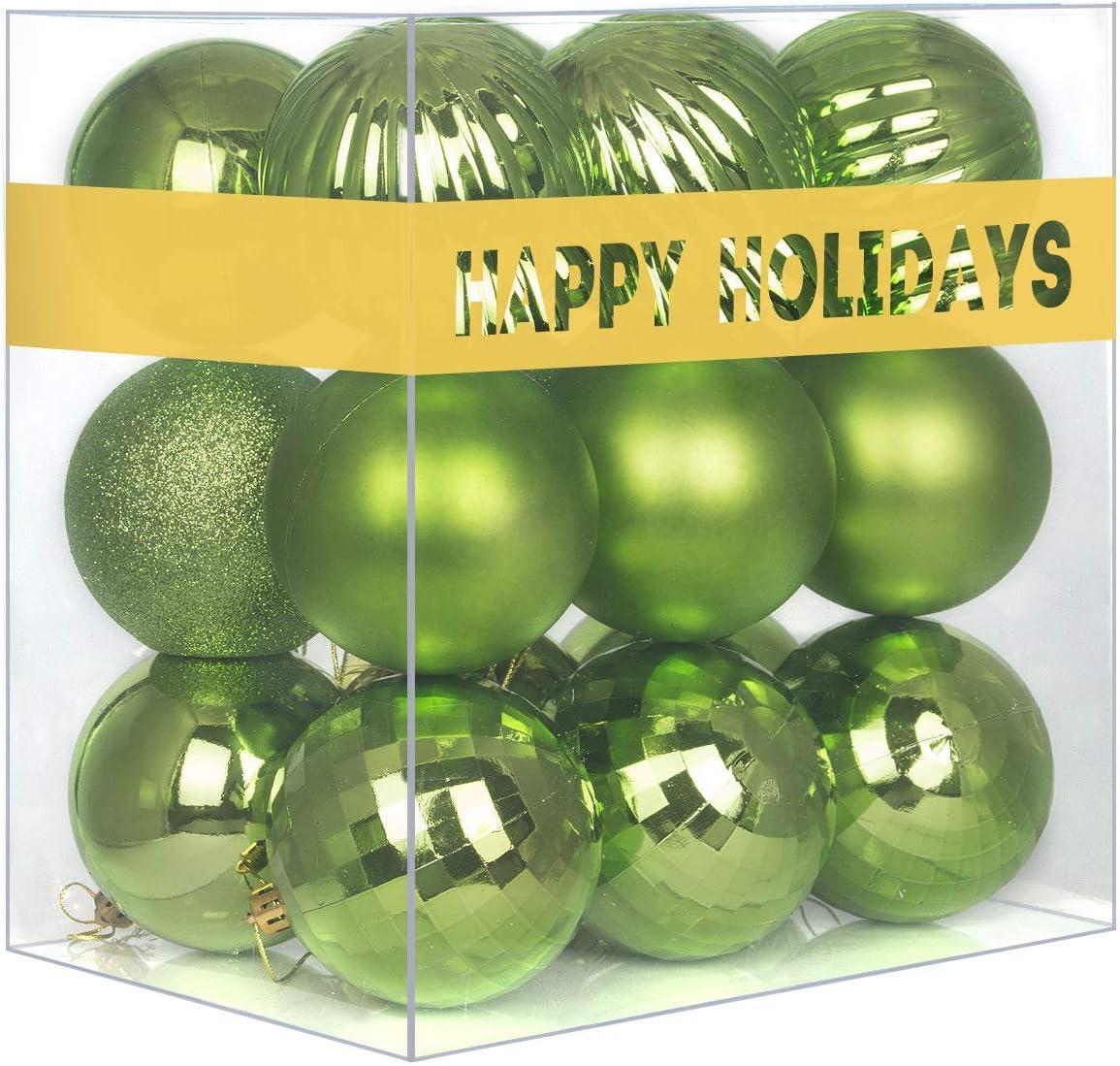 18Pcs Christmas Balls Ornaments for Xmas Tree - Shatterproof Christmas Tree Decorations Large Hanging Ball Lemon Green 2.5