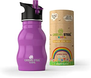 [Upgraded] Kids Water Bottle Stainless Steel - 12 oz Leak Proof Sports Cap with Straw - Toddler Child Friendly