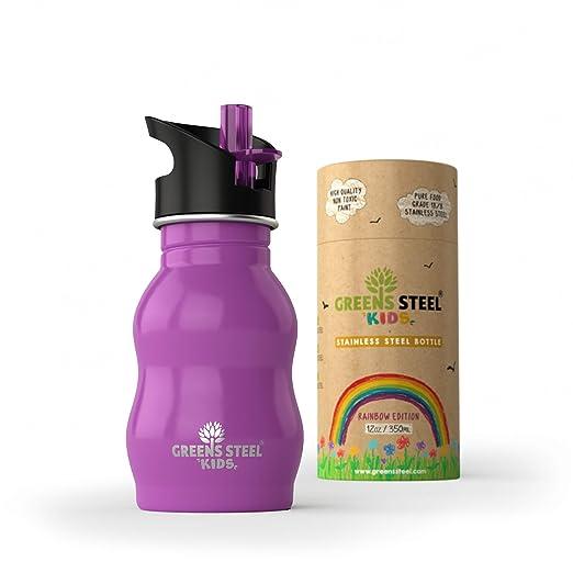 Botella de agua de niño - 350ml Botella a prueba de fugas Tapa con Pitillo - bebe niños cantimplora de acero para niños (púrpura)