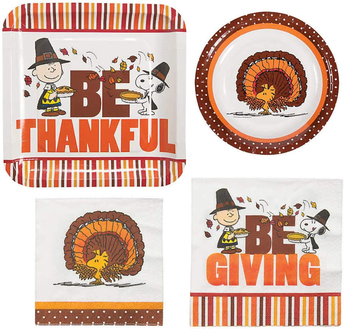 Peanuts Charlie Brown Thanksgiving Party Supplies for 16 People: Lunch or Dinner Plates, Dessert Plates and Napkins 64 Piece Set