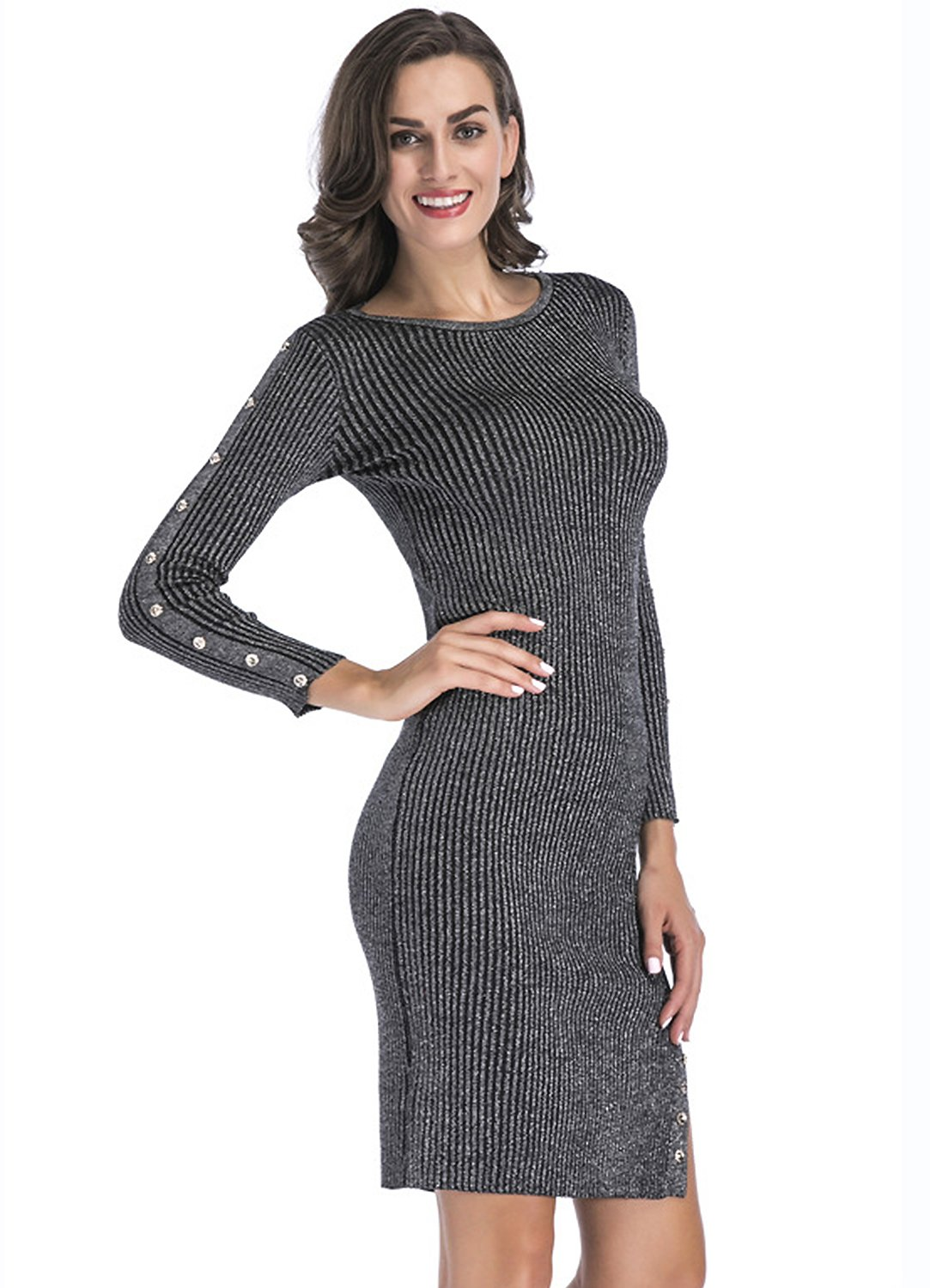 Ribbed Sweater Split Dress For Women - Slim Fit Knit Stretchable Long Sleeve Gray XL Plus Size Slit