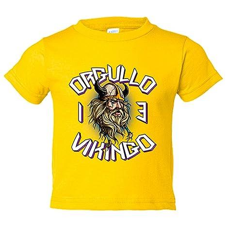 Camiseta niño Orgullo Vikingos 13 campeones de Europa - Amarillo, 3-4 años