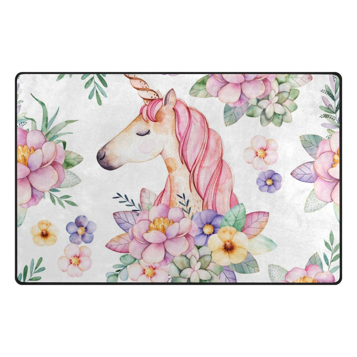 Lovely Unicorn with Flowers Leaves Soft Foam Door Mat for Children Non Skid Game Area Rugs Kids Bedroom Playroom Nursery Decor (23.6'x15.7', L x W) best bags