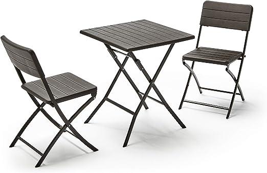 KitGarden - Conjunto Muebles Terraza/Jardín Plegable Imitación ...