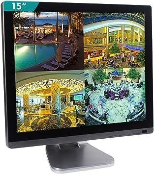 Cocar Monitor de Seguridad CCTV de 15 Pulgadas Altavoz Incorporado 1024x768 Carcasa de Plata cromada y