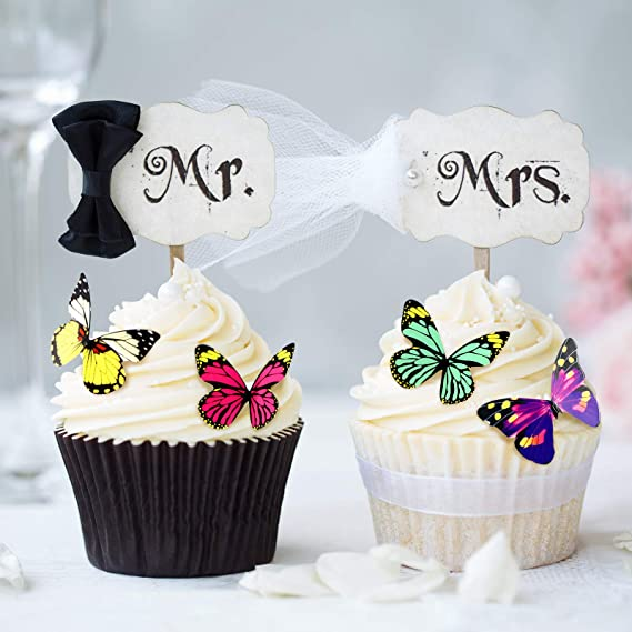 VOSAREA 40 Pieces Butterfly Cake Picks Cupcake Toppers Cake Decorations for Christmas Birthday Wedding Party Baby Shower