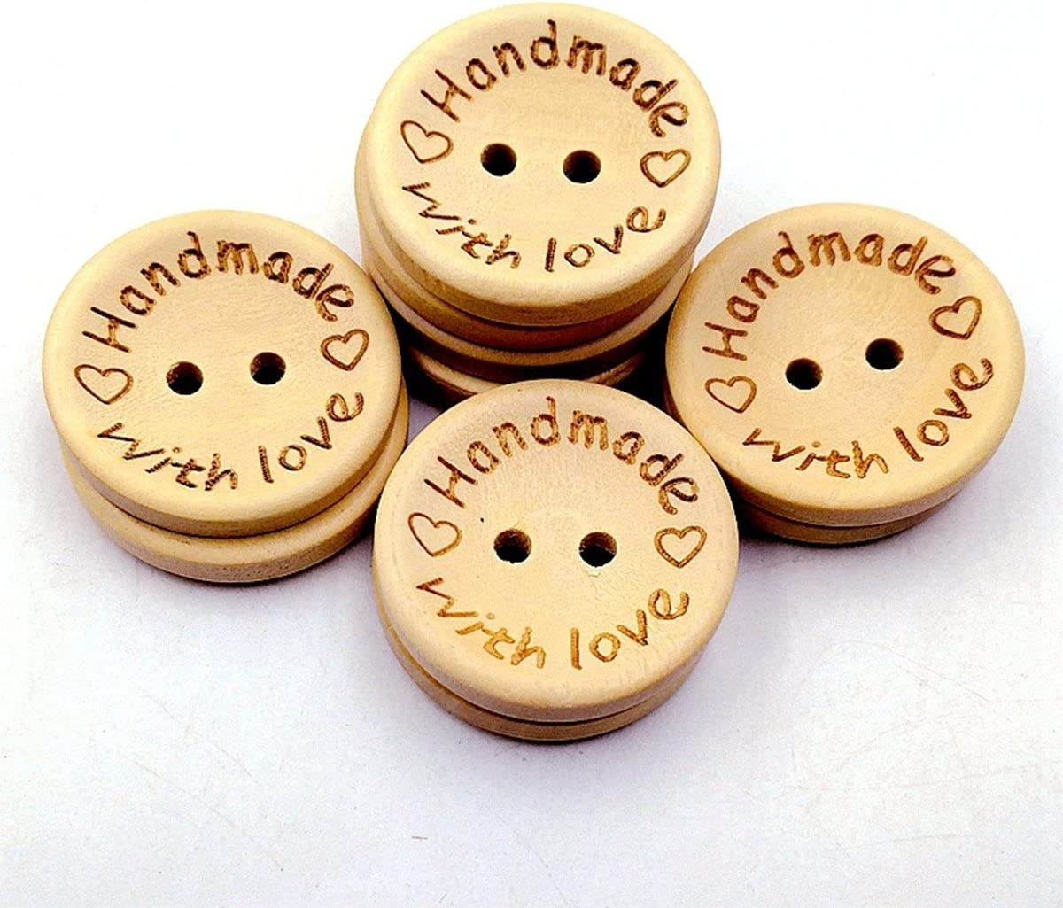 100 Pieces Handmade Love Heart Wood Buttons 2 Holes 15mm for DIY Sewing