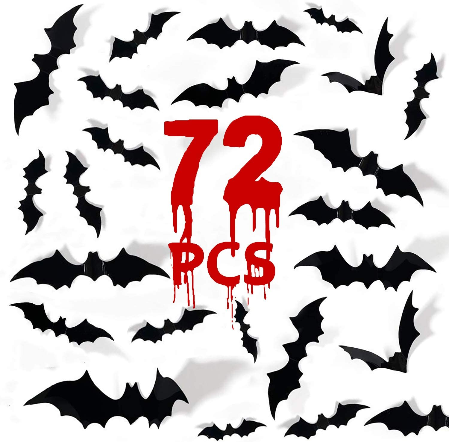 MISS FANTASY Halloween Bats 72PCS Bats Decor 3D Bat Decorations Bats for Wall Black Plastic Bat Decal Stickers for Home Office Wall