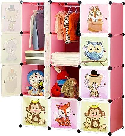 BRIAN & DANY Meuble Rangement Enfant avec Motifs d'animaux, Support de Rangement, Armoires Etagères Plastiques, Armoire de Rangement Bricolage (Rose,
