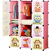 Portable Cartoon Clothes Closet DIY Modular Storage Organizer, Sturdy and Safe Wardrobe for Children and Kids, 8 Cubes&2 Hanging Sections, 30% Deeper Than Standard Version, Pink