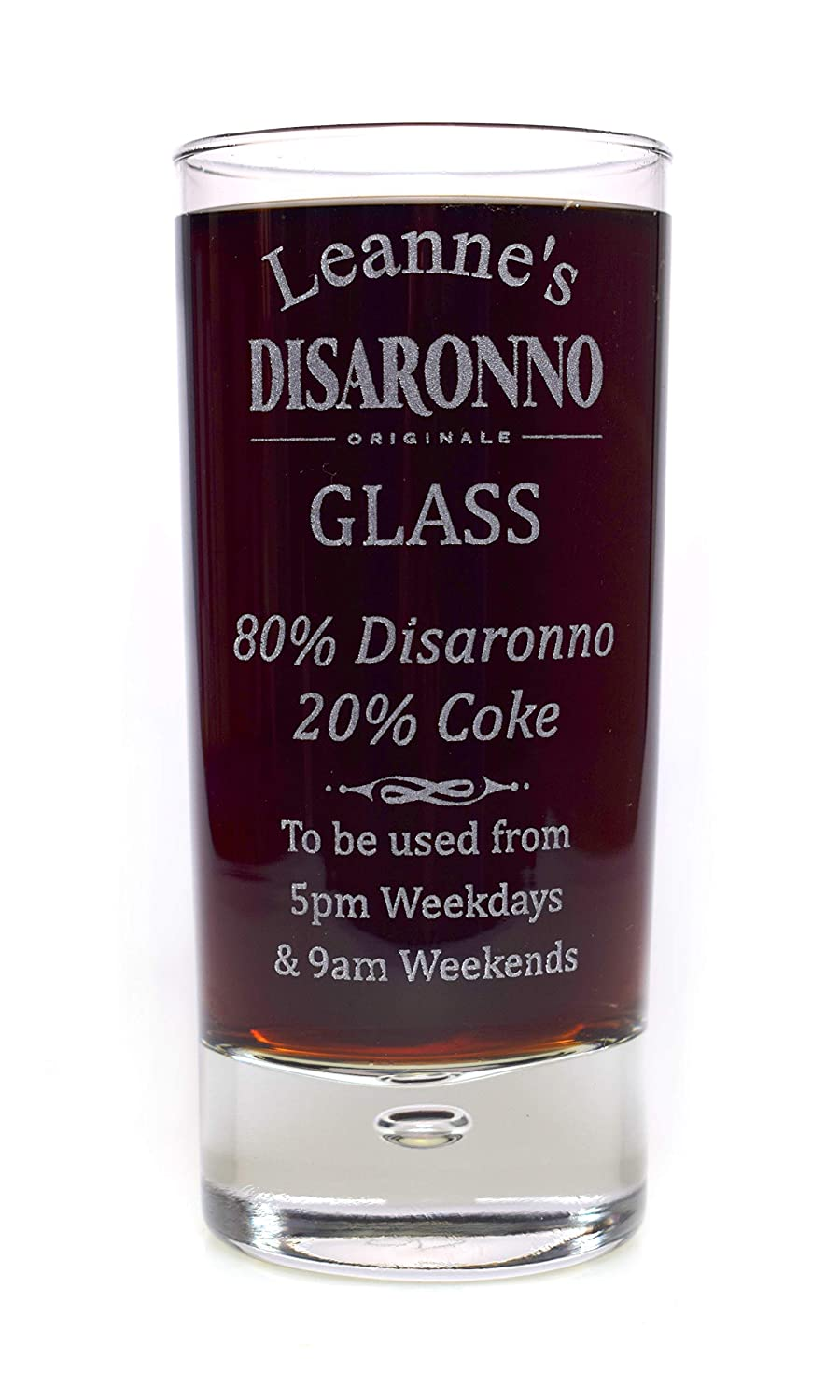 Engraved/Personalised% DISARONNO Highball Glass Gift for Fathers Day/Girls/Boys/Men/Ladies/Women/Birthday/Christmas/Mum/Dad Cr8 A Gift
