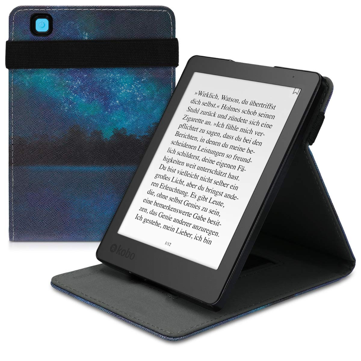 Kobo Aura H20 2nd Edition 2017 Funda,Mama Mouth case Funda Carcasa de cuero con soporte ajustable Modo para 6.8 Kobo Aura H20 2nd Edition 2017 Release,Stained Glass