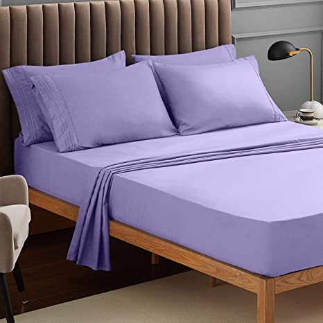 Luxury Comfortable Breathable 4 Piece Bedding Sheets Tan Wrinkle Fade Stain Resistant Deep Pocket VEEYOO Full Size Bed Sheets Set Extra Soft 1800 Brushed Microfiber Sheets Set