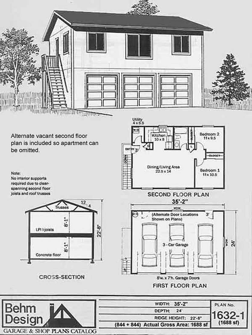 Garage Plans: Three Car, Two Story Garage With 2 Bedroom ...