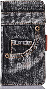 iPhone 8 Plus Case,HuiFlying Creative Jeans Slim PU Leather Magnetic Closure Flip Wallet Case with Kickstand&Card Slot,Canvas Denim Shockproof Protective Case for Apple iPhone 8 Plus, Black