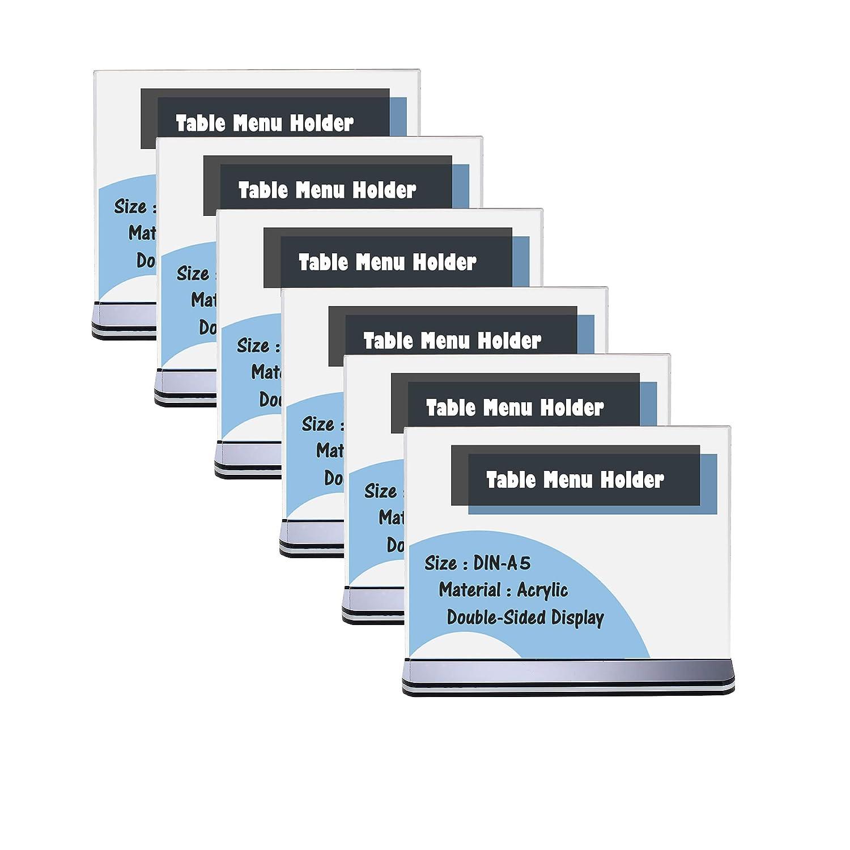T Forma Doppio Acrilico Porta-avvisi da Tavolo con Base Acrilica A5 Verticale TKD8207-A5-6x TUKA 6 Pezzi A5 Espositore da Tavolo per Men/ù Carta Promozioni Altro Supporto Pubblicitario da Banco