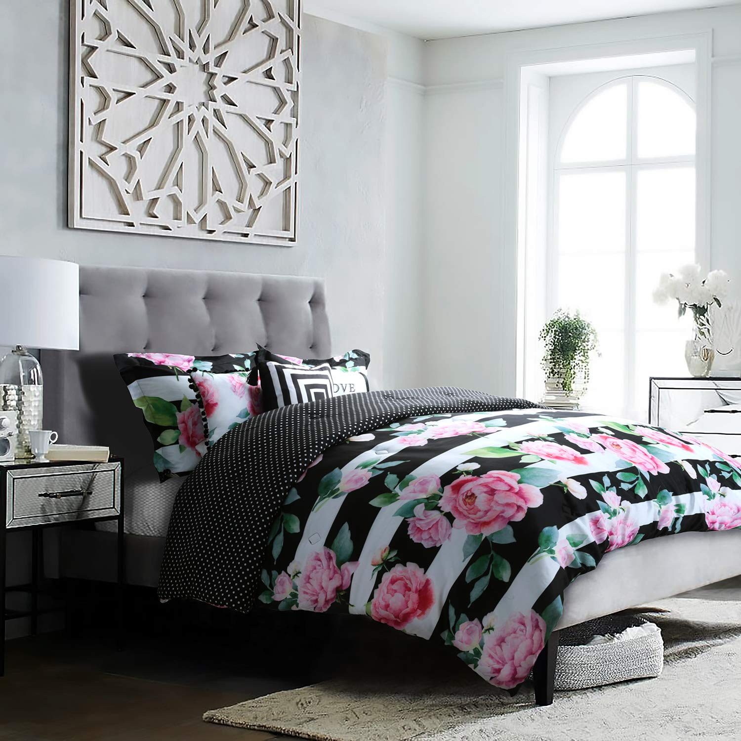 Studio8 brand - LOVE Printed Comforter Set - 6 Piece - Pinks/Greens/Black/White - Handpainted Floral Design - King/CalKing Size, Includes 1 Comforter, 2 Shams, 3 Decorative Pillows - Easy Care