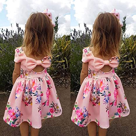 Adorable Infant Kid Girl Princess Floral Lace Bowknot Casual Party Dress Clothes