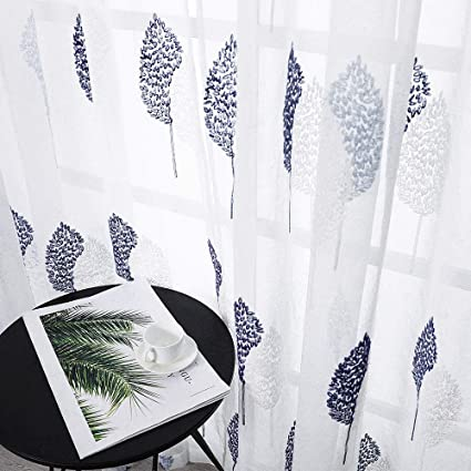 MRTREES Sheer Curtains 84 inches Length Dark Blue Embroidered Leaves  Curtain Panels Bedroom Living Room Rod Pocket Natural Style Embroidery  Window