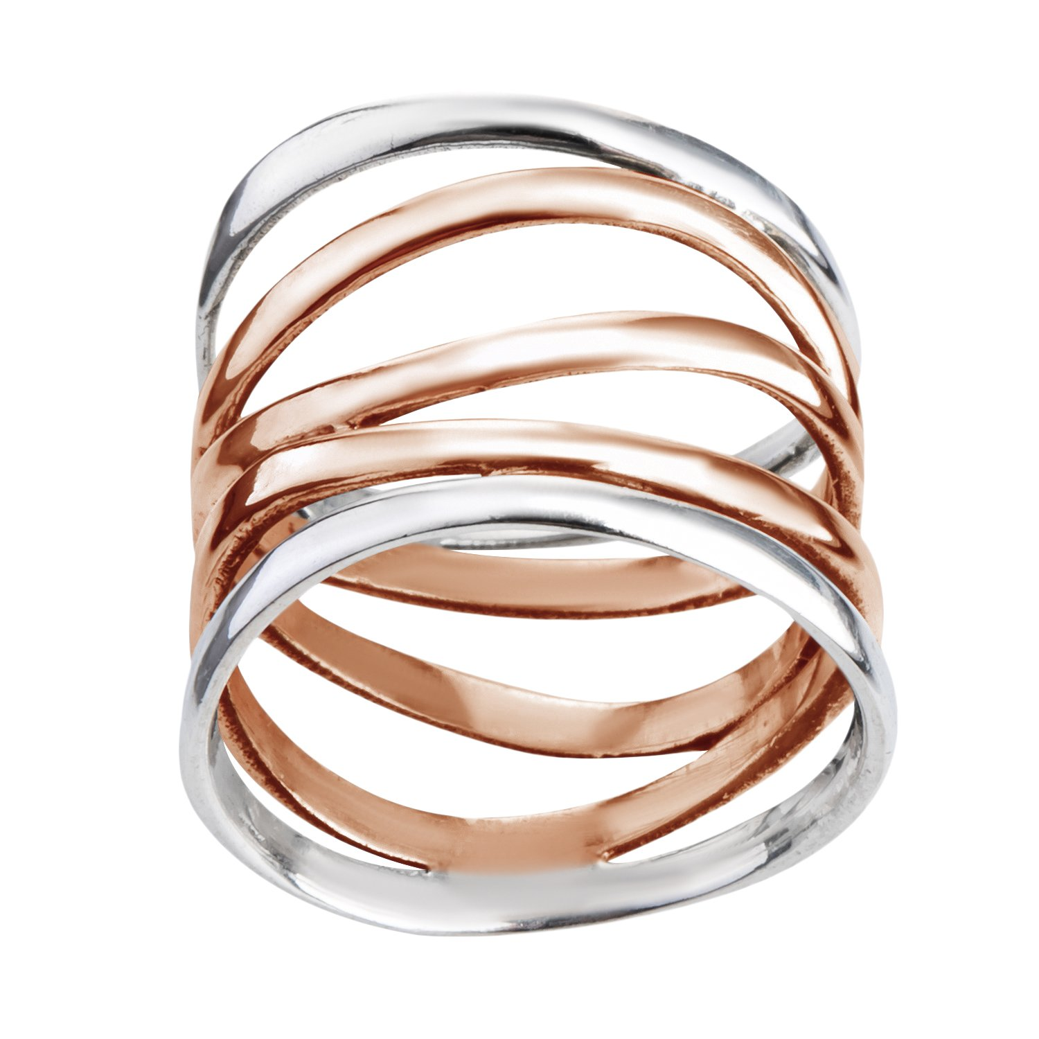 AeraVida Trendy Wide Five Band Coil Wrap Rose Gold Over Silver Ring (8)