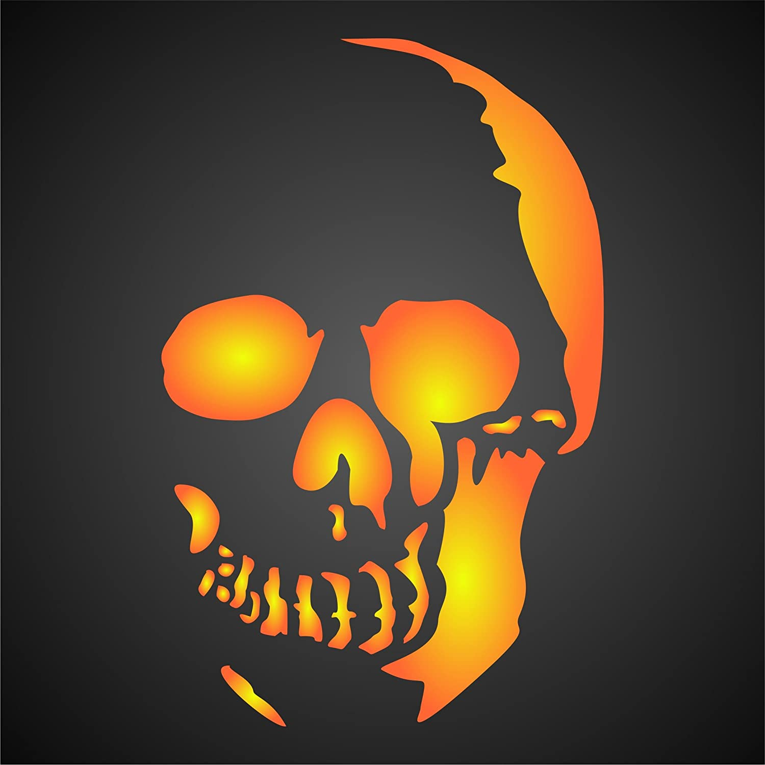 Halloween Skull Stencil (size 4.5w x 7h) Reusable Wall Stencils for Painting & Project Ideas - Use on Walls, Floors, Fabrics, Glass, Wood, Cards, and More... Stencils for Walls 5373369