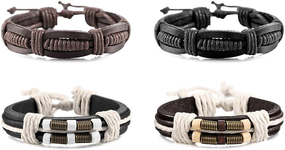 8 Pcs Retro Women Men Cross Alloy Bracelet Leather Rope Wrap Bangle Gifts