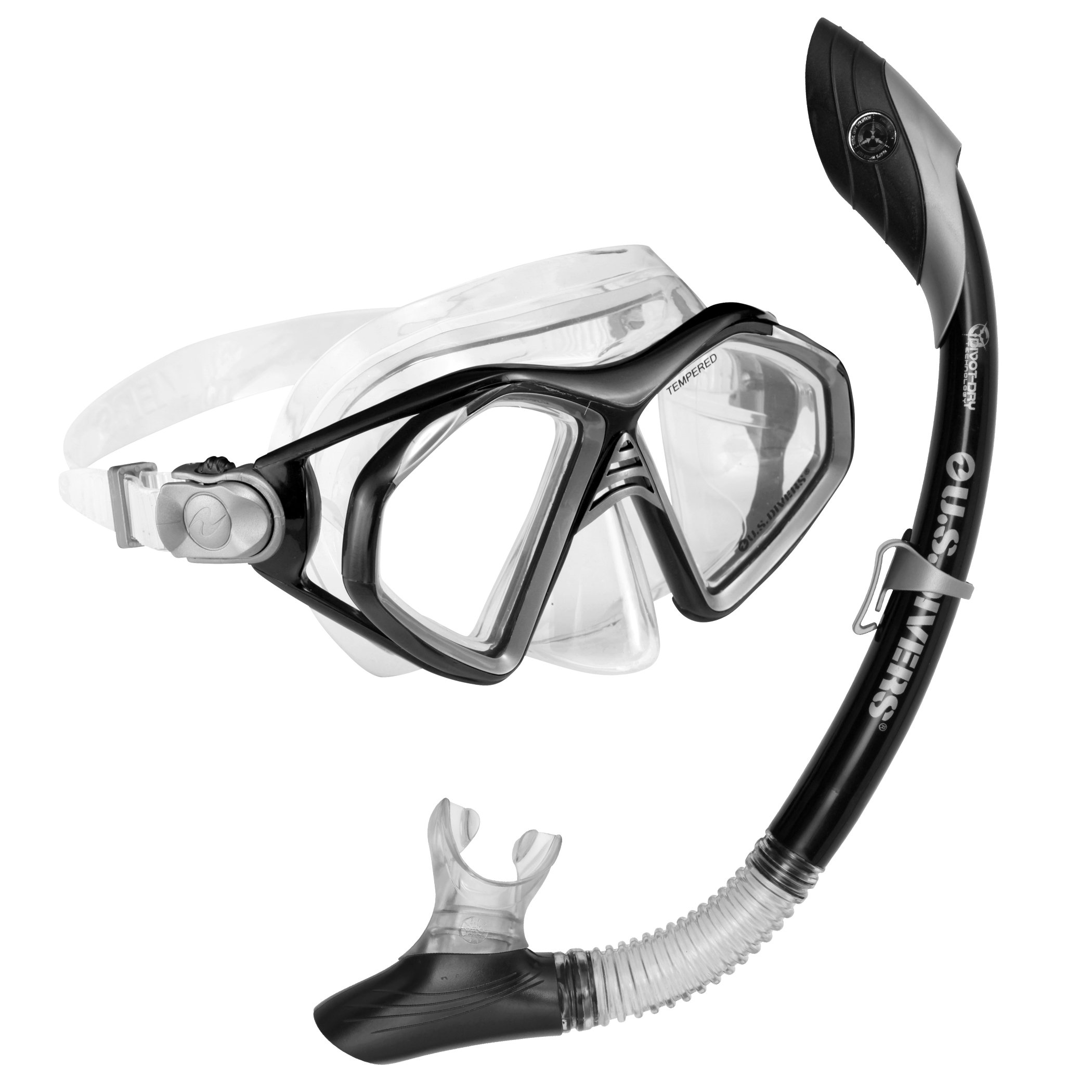 U.S. Divers Admiral 2 Lx / Island Dry Adult Silicone Mask Combo (Black) by U.S. Divers