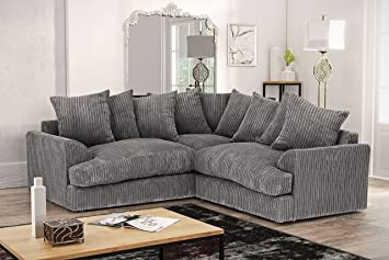 Abakus Direct Ferguson Corner Sofa in Cord Chenille Fabric ...