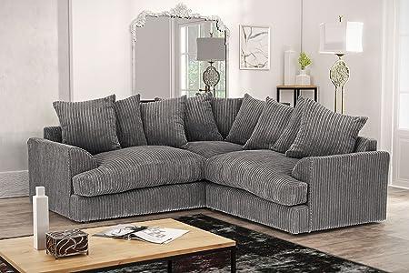 Charming Ferguson Corner Sofa In Cord Chenille Fabric   Grey