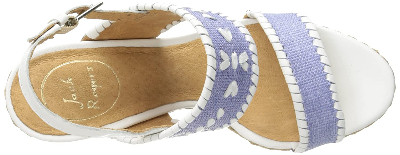 Jack Rogers Women's Vanessa Raffia Wedge Sandal B00NQT0DEU 9.5 B(M) US|Ocean Raffia/White