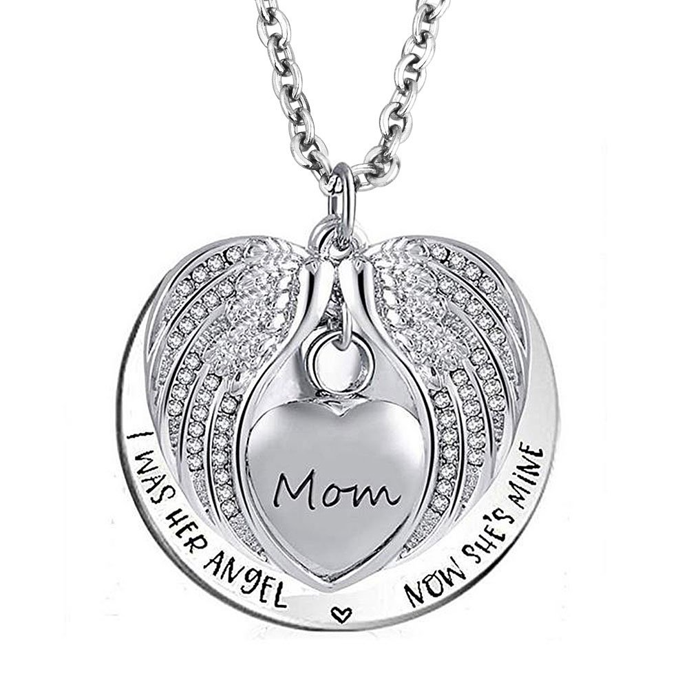 SexyMandala Angel Wing Urn Necklace for Ashes Memorial Dad Mom Grandma Love Heart cremation pendant jewelry with Fill Kit